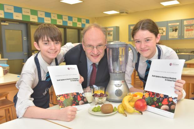 Education Minister Peter Weir and pupils